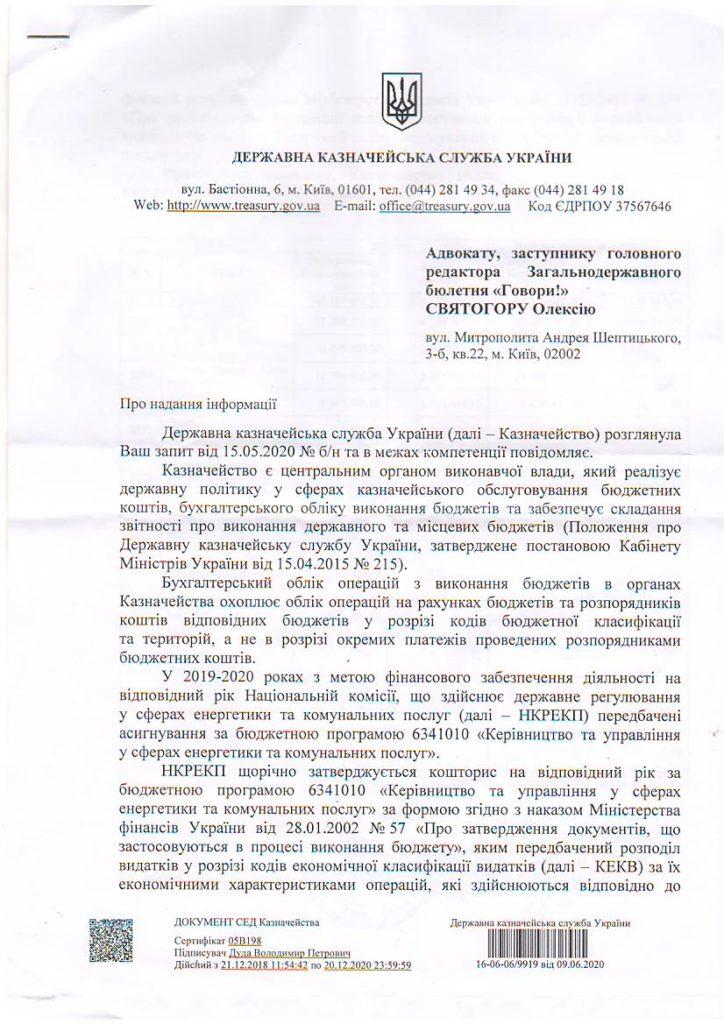 Асигнування для НКРЕКП на 2019-2020 рр.